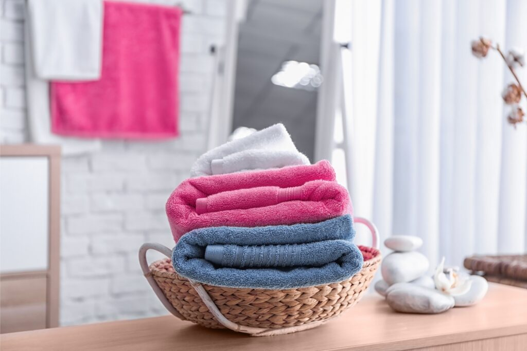 basket of white, pink, blue towels, Martina's Cleaning, Cleaner in Melksham and Devizes