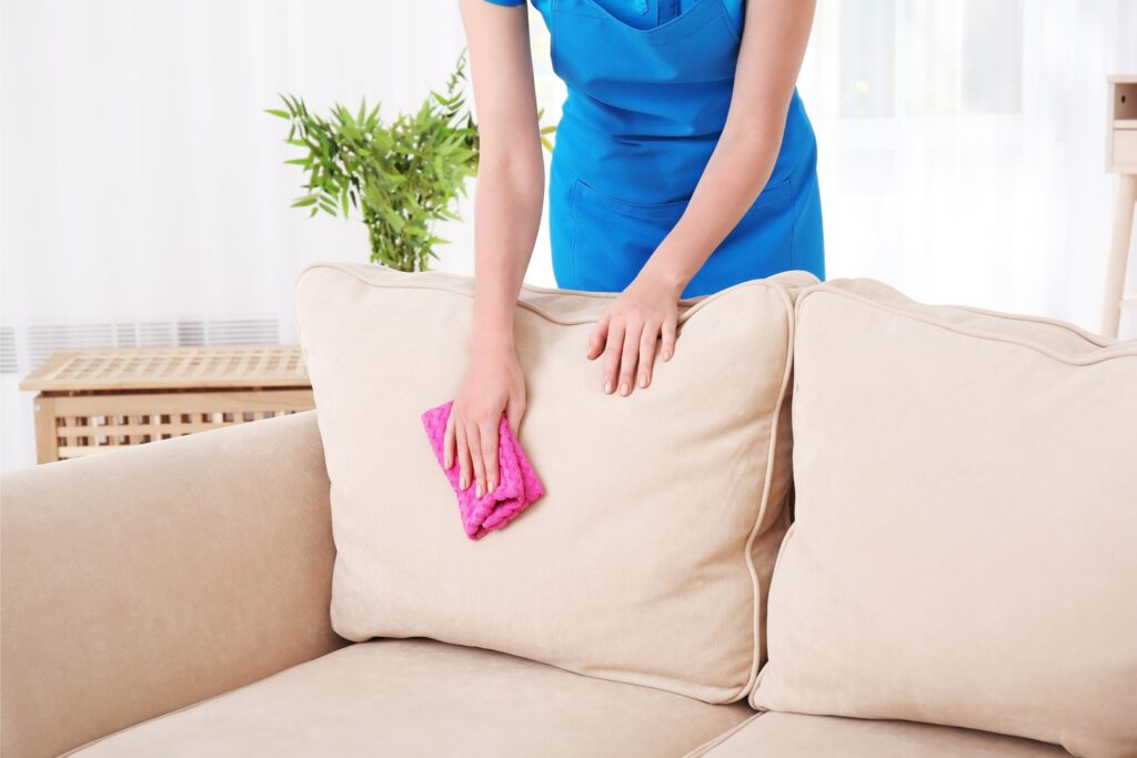 Woman wiping down sofa cushion with pink cloth, Martina's Cleaning, cleaner in Melksham and Devizes